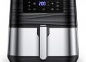 Innsky 5,5L XXL Friteuse sans huile en acier inoxydable avec écran LCD numérique, 7 programmes, Friteuse à air chaud 1700W Airfryer avec 32 livres de recettes, sans friteuse à huile(dernière version) [Classe énergétique A++]