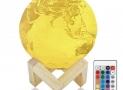 Lampe de chevet enfant 3D Terre, télécommande, 16 couleurs, rechargeable