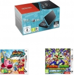 New Nintendo 2DS XL Noir+Turquoise + Kirby: Battle Royale + Mario et Luigi: Superstar Saga