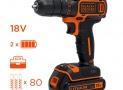 ODR Perceuse visseuse sans fil BLACK+DECKER- 18V – 1,5 Ah – 2 batteries – Chargeur inclus – 80 accessoires