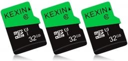 Lot de 3 Cartes Mémoire MicroSDHC 32 Go Kexin