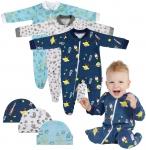 Pyjama Bebe Naissance Zippé 100% Coton 3 pièces + bonnet